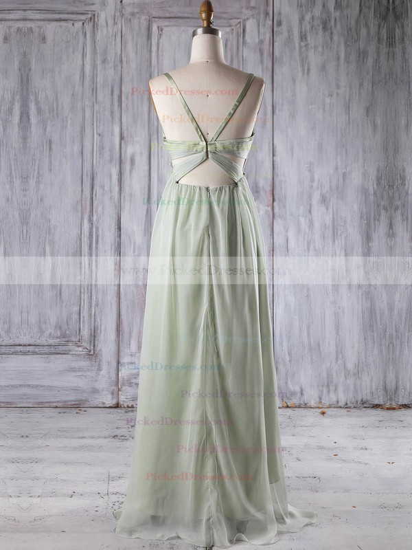 Empire V-neck Asymmetrical Chiffon with Ruffles Bridesmaid Dresses #PDS01013251