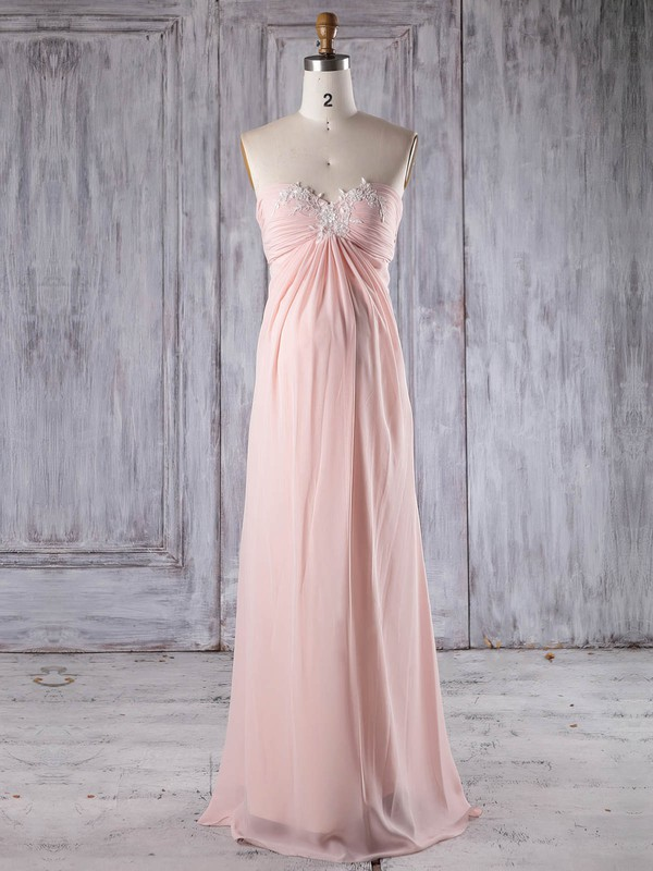 Empire Sweetheart Floor-length Chiffon with Appliques Lace Bridesmaid Dresses #PDS01013252