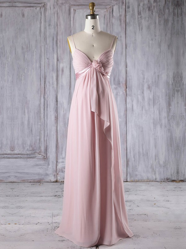 Empire V-neck Floor-length Chiffon with Flower(s) Bridesmaid Dresses #PDS01013253