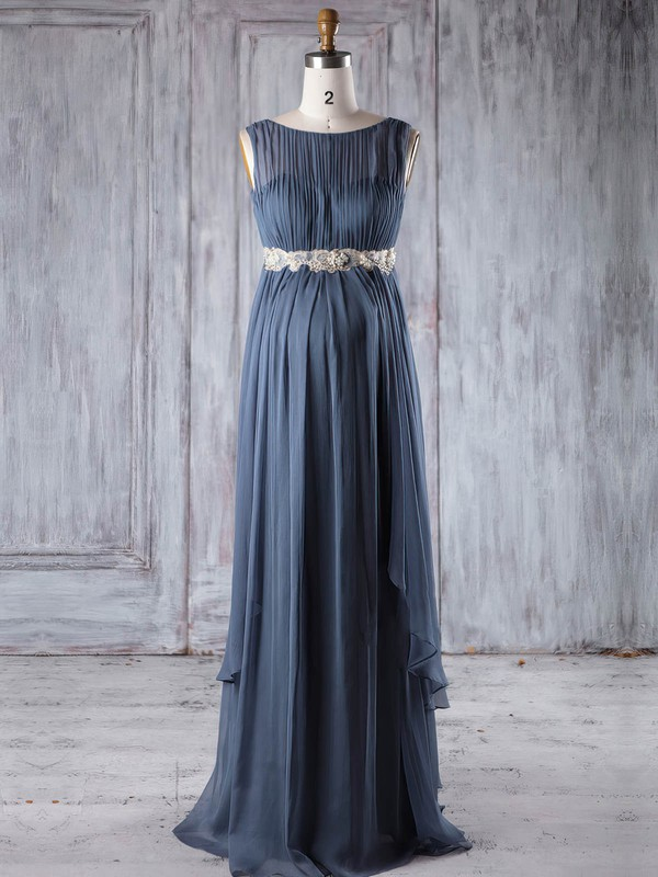 Empire Scoop Neck Floor-length Chiffon with Sashes / Ribbons Bridesmaid Dresses #PDS01013254