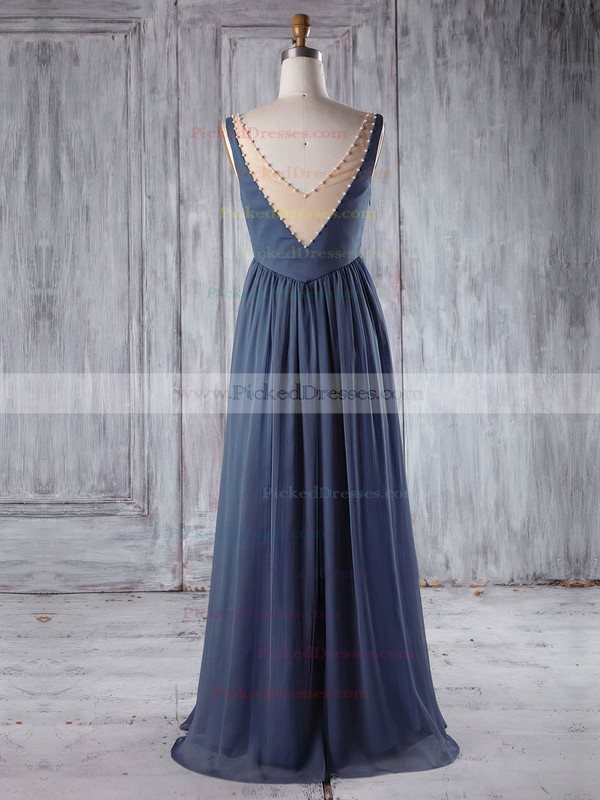 Empire Scoop Neck Floor-length Chiffon Tulle with Pearl Detailing Bridesmaid Dresses #PDS01013255