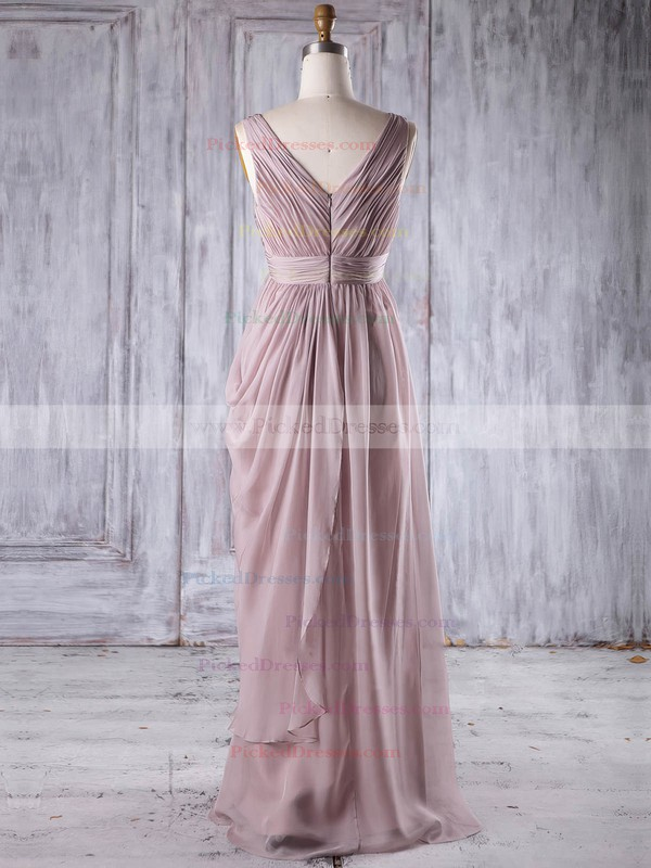 Empire V-neck Floor-length Chiffon with Sequins Bridesmaid Dresses #PDS01013256