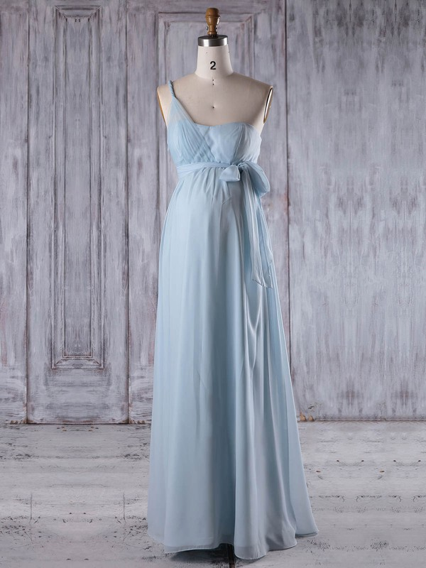 Empire One Shoulder Floor-length Chiffon with Sashes / Ribbons Bridesmaid Dresses #PDS01013257