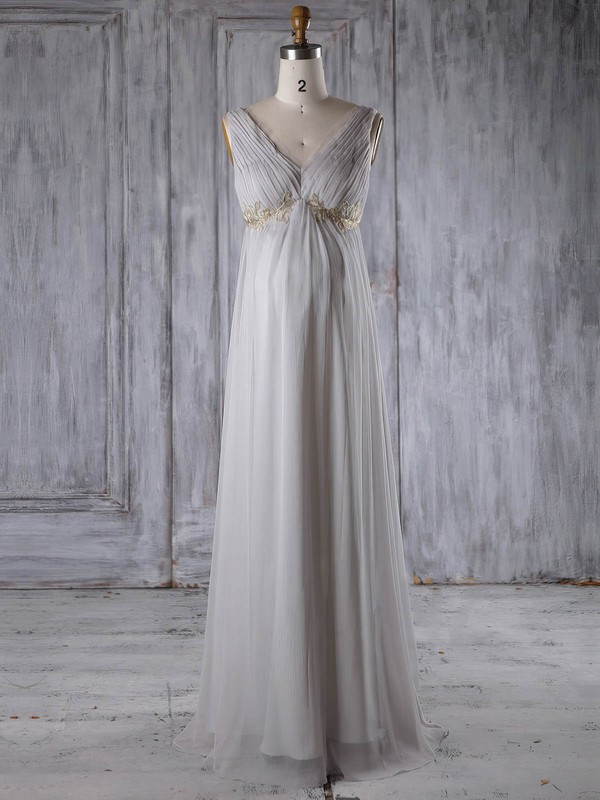 Empire V-neck Floor-length Chiffon with Appliques Lace Bridesmaid Dresses #PDS01013259