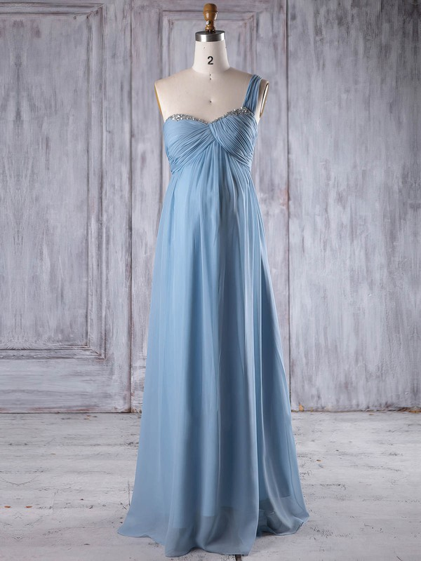 Empire One Shoulder Floor-length Chiffon with Ruffles Bridesmaid Dresses #PDS01013260