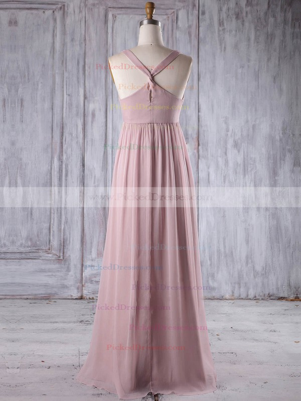 Empire V-neck Floor-length Chiffon with Flower(s) Bridesmaid Dresses #PDS01013263
