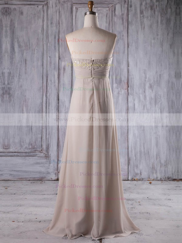 Empire Strapless Floor-length Chiffon with Lace Bridesmaid Dresses #PDS01013264