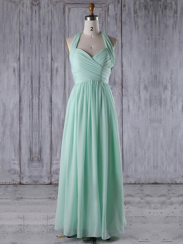 A-line V-neck Floor-length Chiffon with Ruffles Bridesmaid Dresses #PDS01013265