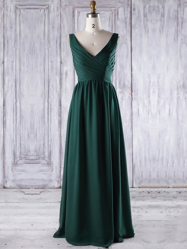 A-line V-neck Floor-length Chiffon with Ruffles Bridesmaid Dresses #PDS01013267