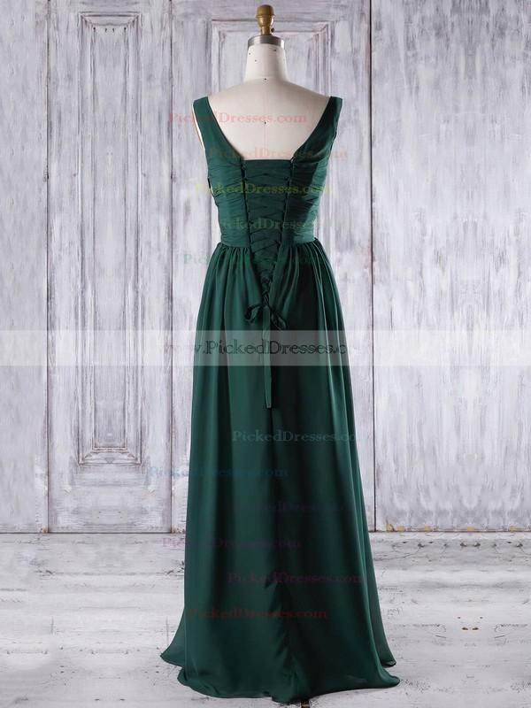A-line V-neck Floor-length Chiffon with Ruffles Bridesmaid Dresses #PDS01013267