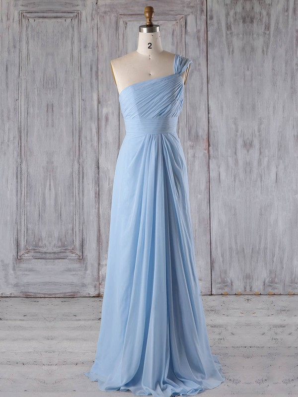 A-line Scoop Neck Floor-length Chiffon with Ruffles Bridesmaid Dresses #PDS01013268