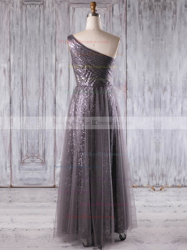 A-line One Shoulder Floor-length Tulle Sequined with Ruffles Bridesmaid Dresses #PDS01013269