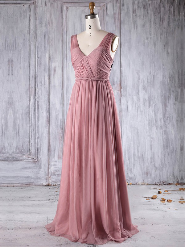 A-line V-neck Floor-length Chiffon with Ruffles Bridesmaid Dresses #PDS01013271
