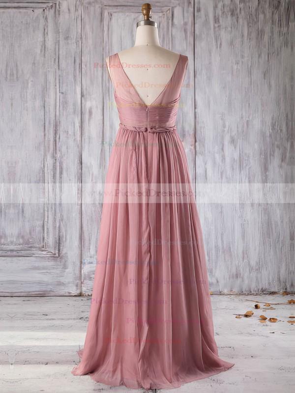 A-line V-neck Floor-length Chiffon with Ruffles Bridesmaid Dresses #PDS01013271