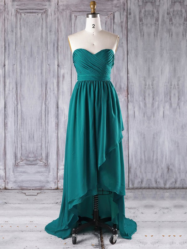 A-line Sweetheart Asymmetrical Chiffon with Ruffles Bridesmaid Dresses #PDS01013272