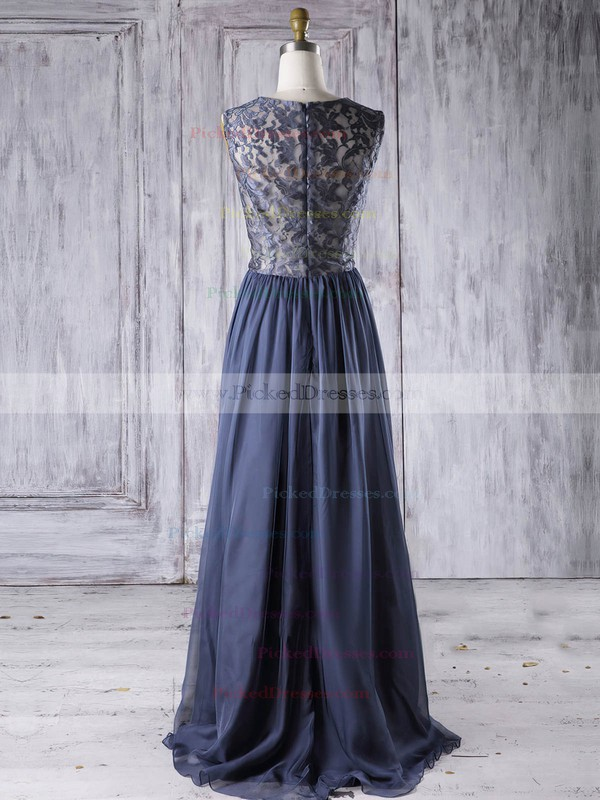 A-line Scoop Neck Floor-length Chiffon with Lace Bridesmaid Dresses #PDS01013273