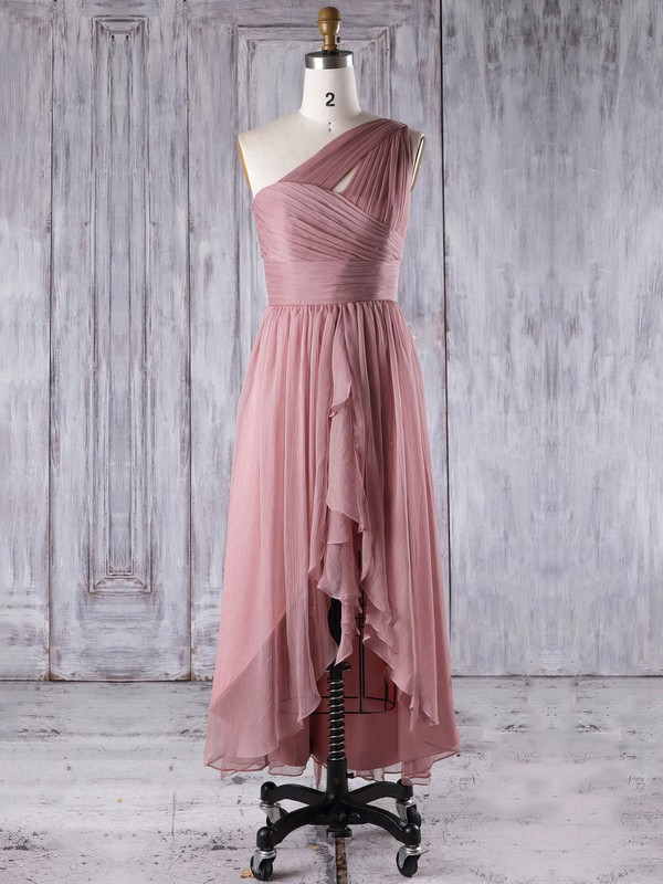 A-line One Shoulder Asymmetrical Chiffon with Ruffles Bridesmaid Dresses #PDS01013274
