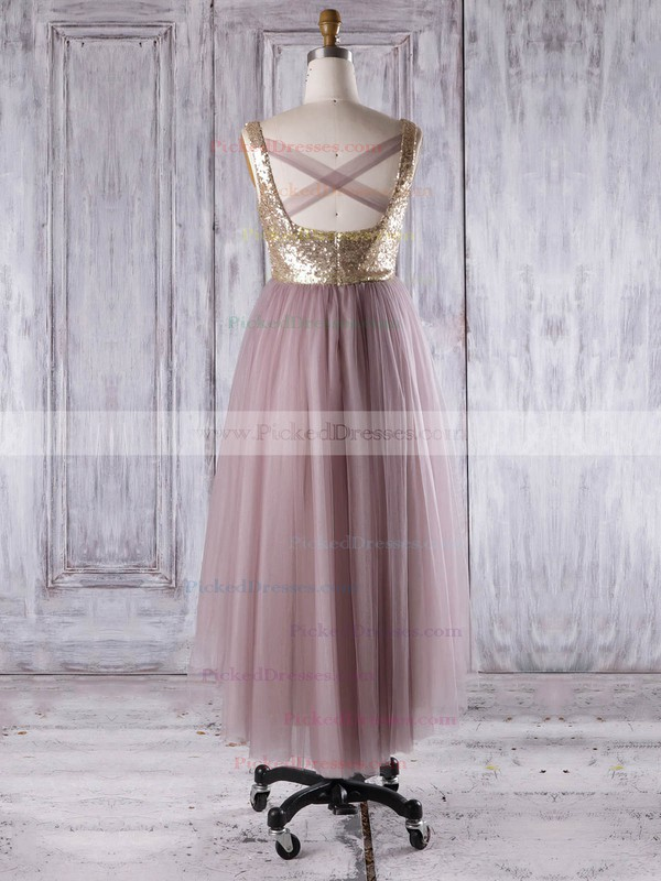 A-line V-neck Asymmetrical Tulle Sequined with Ruffles Bridesmaid Dresses #PDS01013276