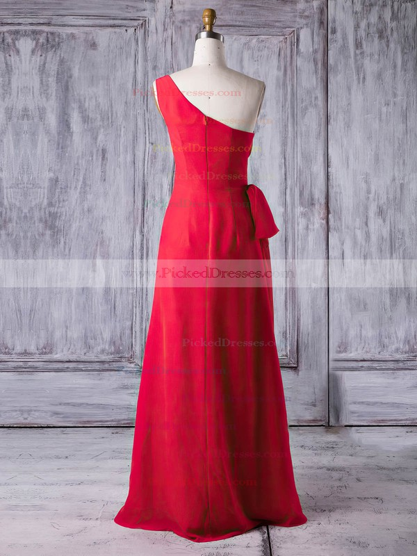 Sheath/Column One Shoulder Floor-length Chiffon with Ruffles Bridesmaid Dresses #PDS01013278