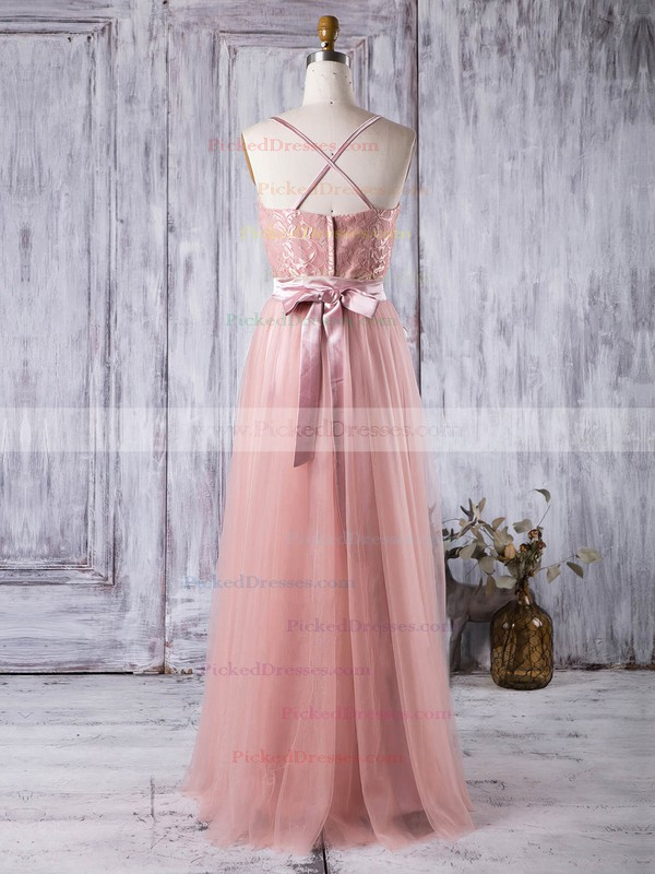A-line Sweetheart Floor-length Lace Tulle with Sashes / Ribbons Bridesmaid Dresses #PDS01013279