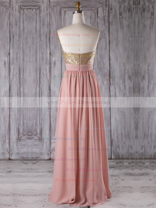 A-line Sweetheart Floor-length Chiffon with Sequins Bridesmaid Dresses #PDS01013280