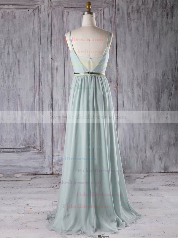 A-line V-neck Floor-length Chiffon with Sashes / Ribbons Bridesmaid Dresses #PDS01013281