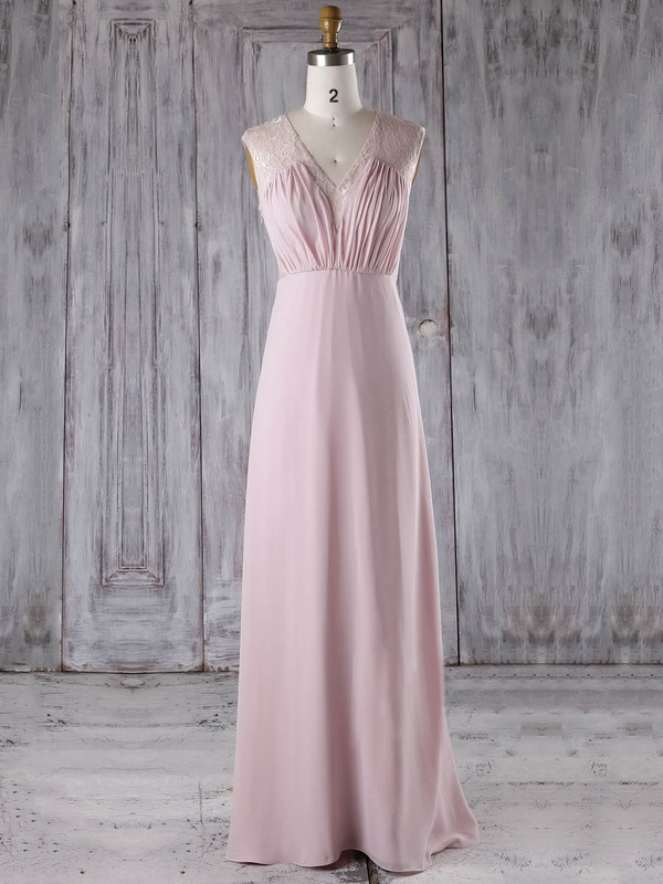 A-line V-neck Floor-length Lace Chiffon with Ruffles Bridesmaid Dresses #PDS01013282