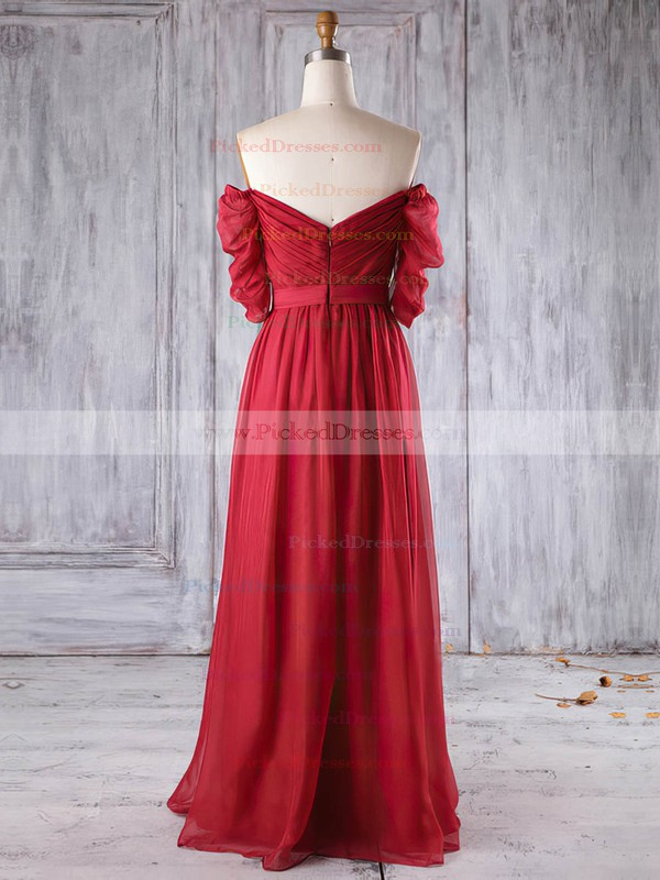 A-line Off-the-shoulder Floor-length Chiffon with Ruffles Bridesmaid Dresses #PDS01013284