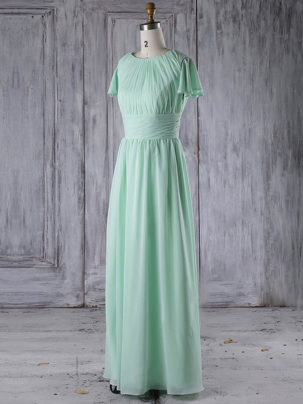 A-line Scoop Neck Floor-length Chiffon with Ruffles Bridesmaid Dresses #PDS01013286