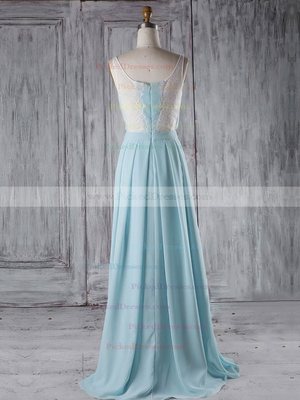A-line V-neck Floor-length Chiffon with Lace Bridesmaid Dresses #PDS01013289