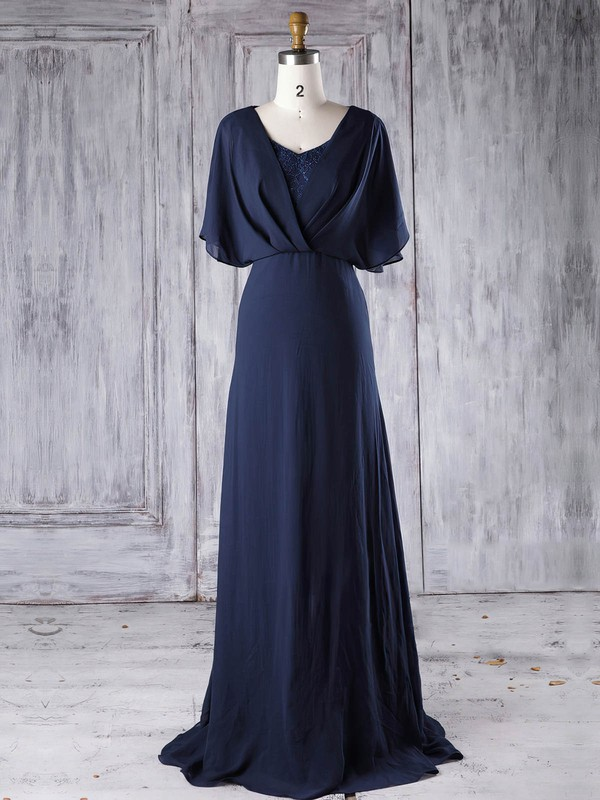 A-line V-neck Sweep Train Lace Chiffon with Sequins Bridesmaid Dresses #PDS01013290