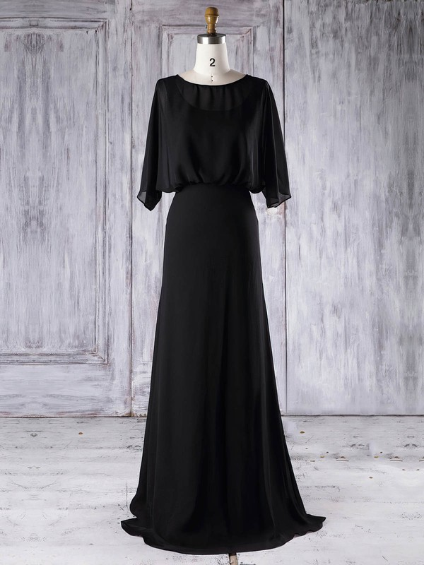 A-line Scoop Neck Floor-length Chiffon with Ruffles Bridesmaid Dresses #PDS01013291