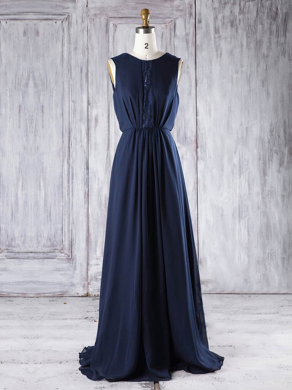 A-line Scoop Neck Floor-length Lace Chiffon with Sequins Bridesmaid Dresses #PDS01013292