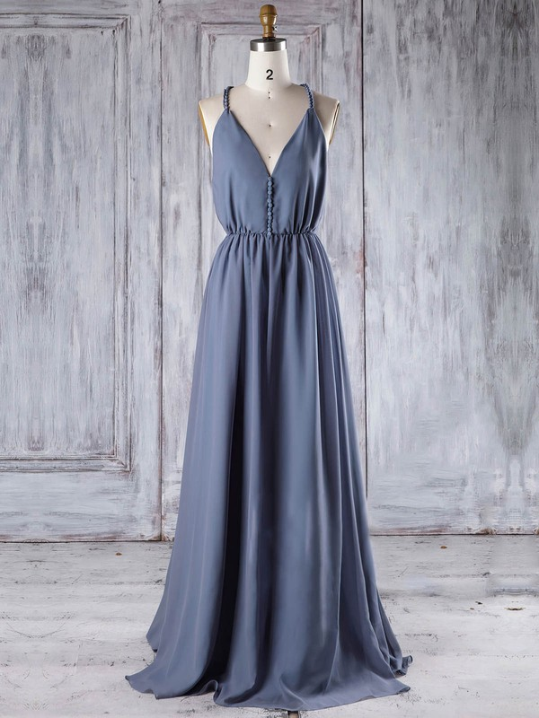 A-line V-neck Floor-length Chiffon with Ruffles Bridesmaid Dresses #PDS01013293