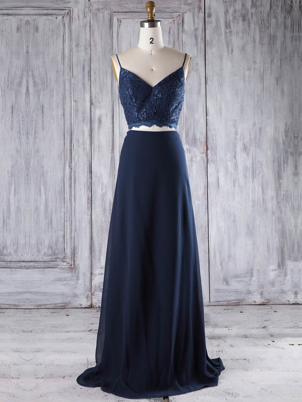 A-line V-neck Floor-length Chiffon with Lace Bridesmaid Dresses #PDS01013294