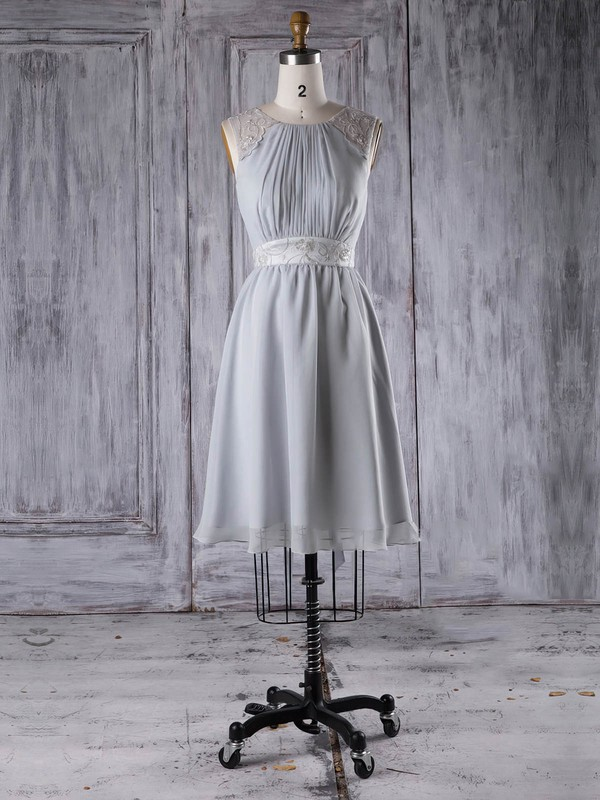 A-line Scoop Neck Short/Mini Chiffon with Sashes / Ribbons Bridesmaid Dresses #PDS01013295