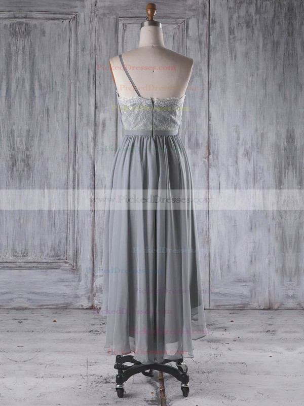 A-line One Shoulder Asymmetrical Lace Chiffon with Sashes / Ribbons Bridesmaid Dresses #PDS01013296
