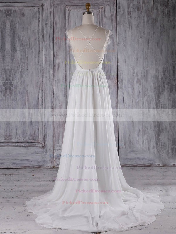 A-line Scoop Neck Sweep Train Lace Chiffon with Ruffles Bridesmaid Dresses #PDS01013297