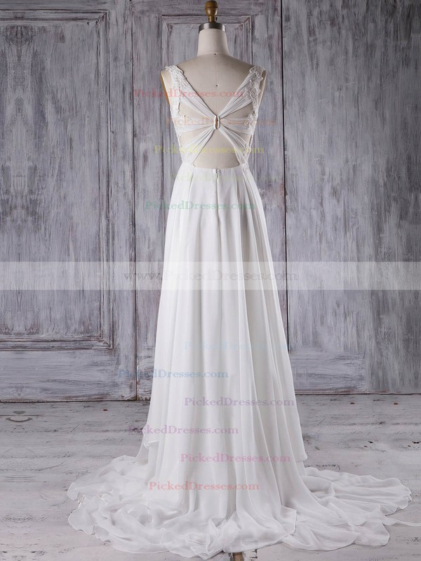 A-line V-neck Sweep Train Chiffon with Appliques Lace Bridesmaid Dresses #PDS01013299