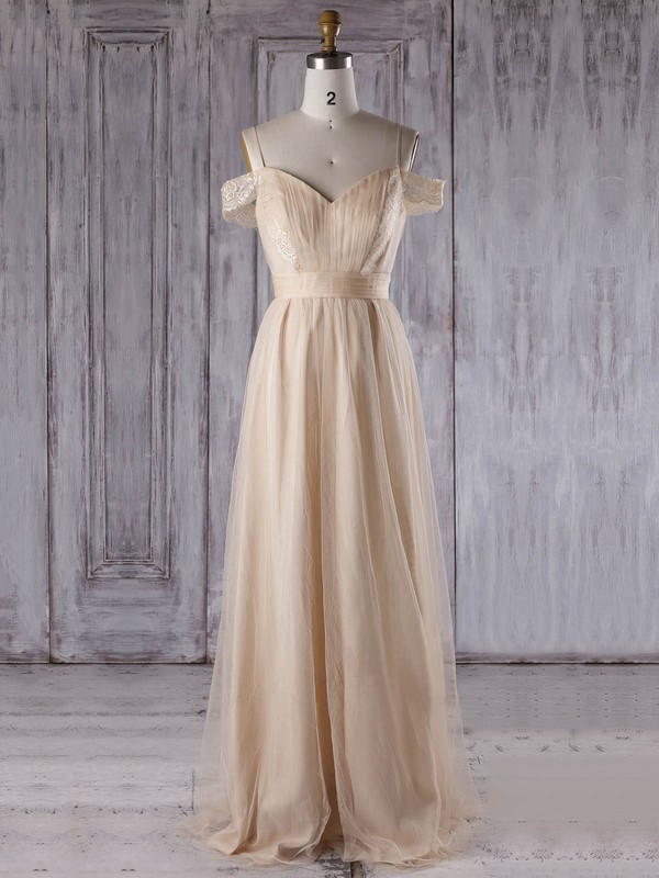 A-line V-neck Floor-length Tulle with Lace Bridesmaid Dresses #PDS01013302