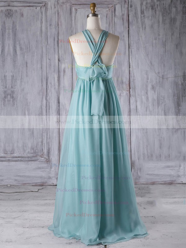Empire V-neck Floor-length Chiffon with Ruffles Bridesmaid Dresses #PDS01013303