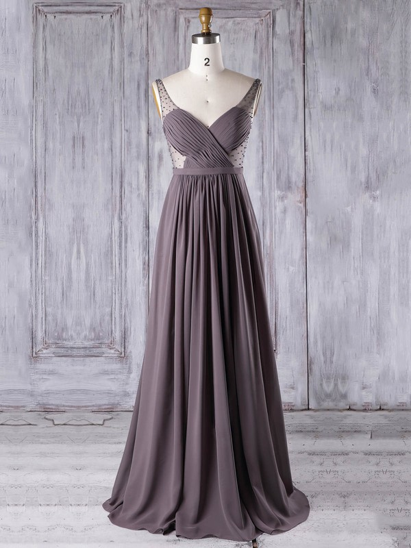 A-line V-neck Floor-length Chiffon Tulle with Pearl Detailing Bridesmaid Dresses #PDS01013304