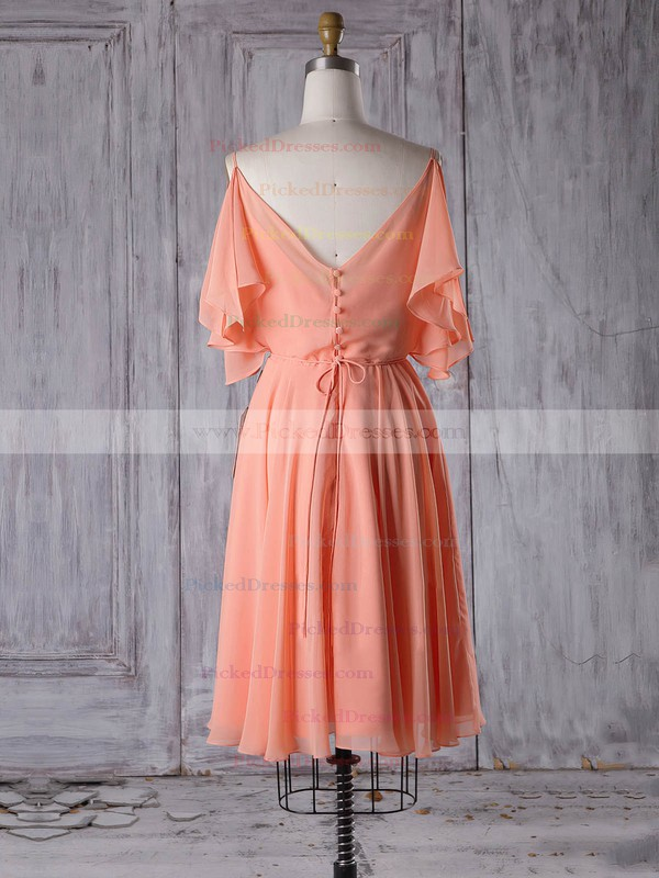 A-line V-neck Short/Mini Chiffon with Sashes / Ribbons Bridesmaid Dresses #PDS01013305