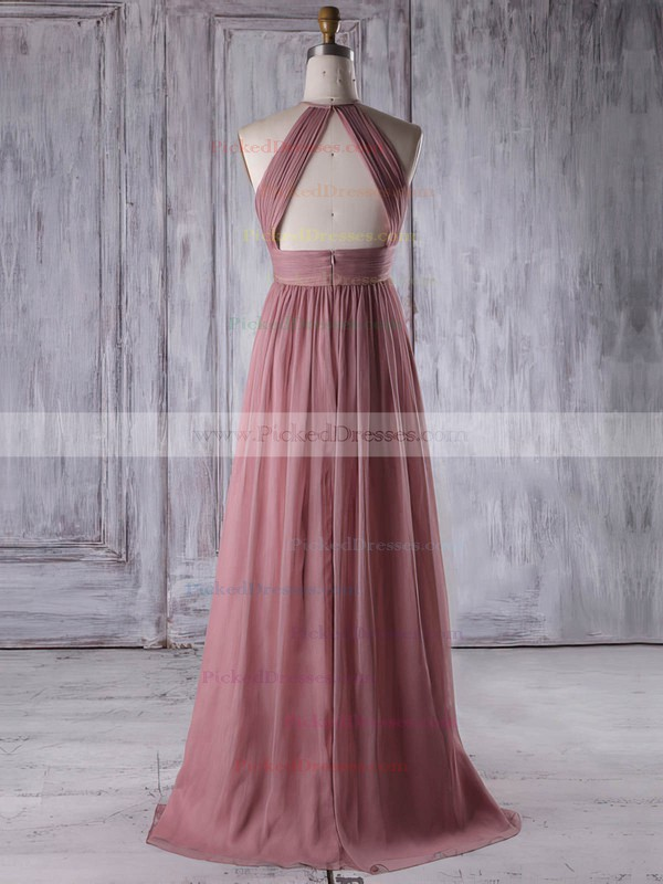 A-line Scoop Neck Floor-length Chiffon with Ruffles Bridesmaid Dresses #PDS01013306