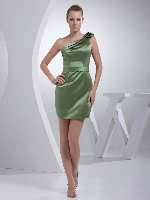 Satin Sheath/Column One Shoulder Short/Mini Ruched Bridesmaid Dresses #PDS01011695