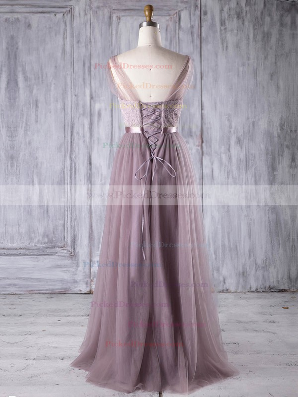 A-line V-neck Floor-length Lace Tulle with Sashes / Ribbons Bridesmaid Dresses #PDS01013308