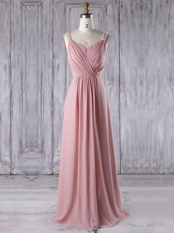 A-line V-neck Floor-length Chiffon with Appliques Lace Bridesmaid Dresses #PDS01013309