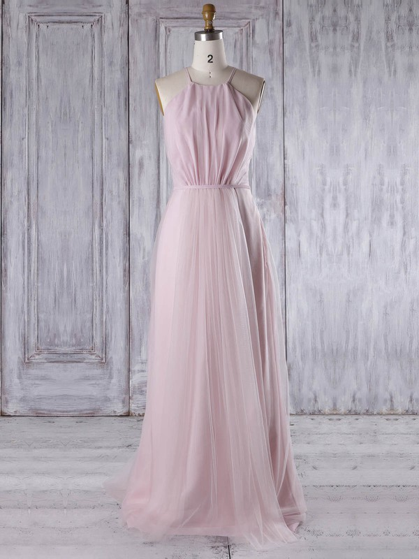 A-line Scoop Neck Sweep Train Tulle with Sashes / Ribbons Bridesmaid Dresses #PDS01013310