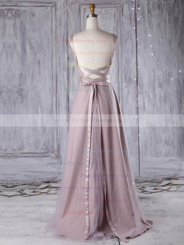 A-line V-neck Floor-length Tulle with Sashes / Ribbons Bridesmaid Dresses #PDS01013311
