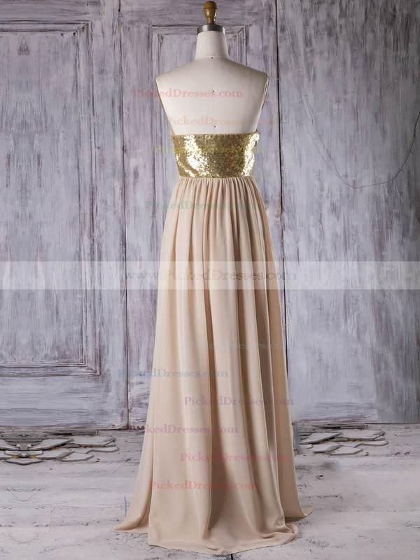 A-line Sweetheart Floor-length Chiffon with Sequins Bridesmaid Dresses #PDS01013314